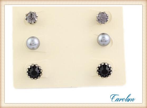 (Mini Mix Order >$10) Fashion Jewelry Claire s stud earring pack set 3 pairs birdIcecream pearl stone(China (Mainland))