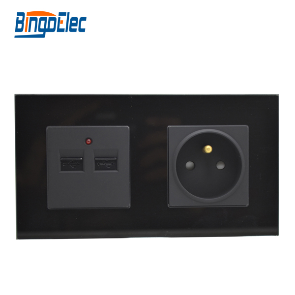 Europe wall socket with dual USB,black glass panel wall socket and USB, free shipping<br><br>Aliexpress
