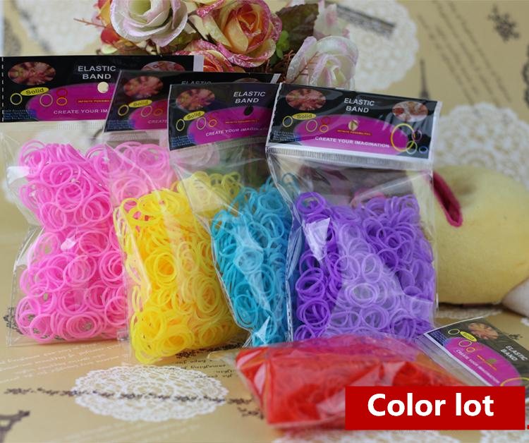 Diy knitting machine bracelet woven rainbow colored rubber band solid color boosters 600 / bag(China (Mainland))