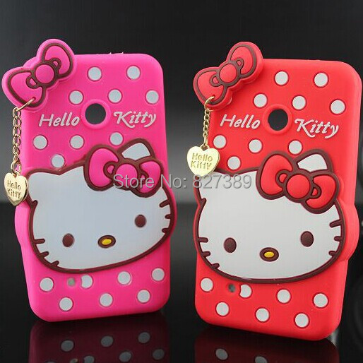 Hot Selling Polka Dot Hello Kitty Silicon Case Cover For Nokia Lumia 530(China (Mainland))