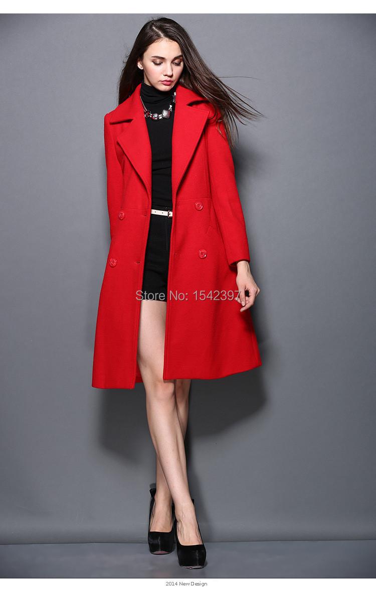 Euopean new style women's wool coat women & double breasted button red long &winter 2015 - Amery's finca store