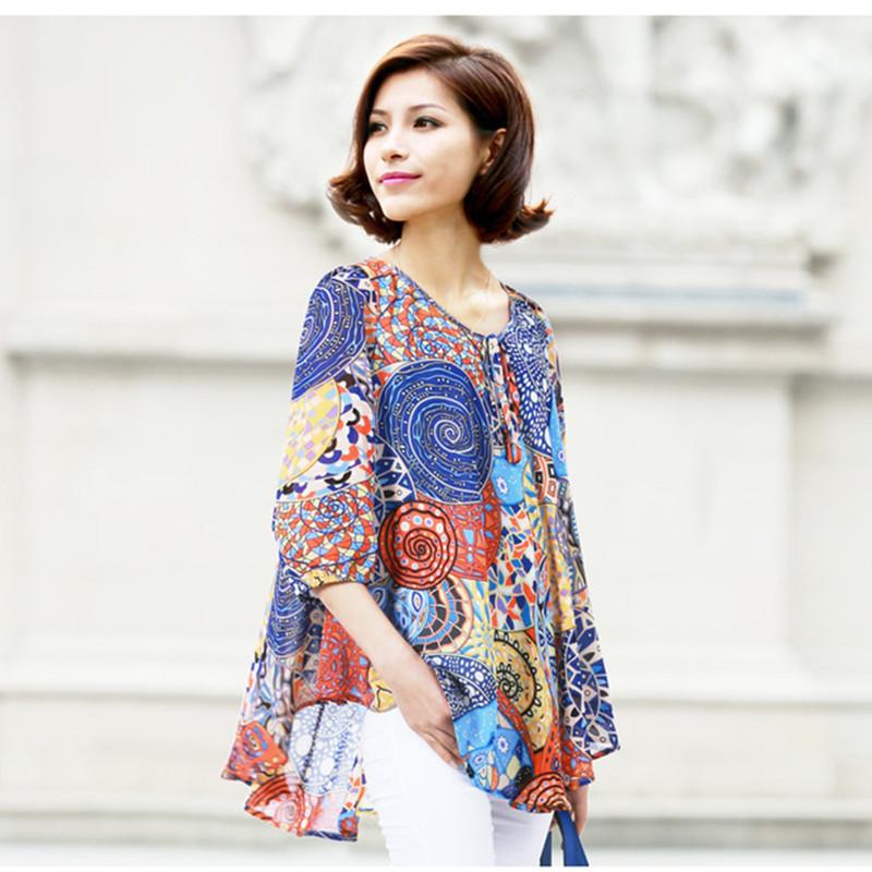 2015 Fashion Women Loose Blouse Plus Size Dress Summer Style  Bohemia Shirt blusas(China (Mainland))