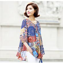 2015 mujeres de moda blusa suelta más el tamaño del vestido del verano del estilo de Bohemia de la camisa blusas(China (Mainland))