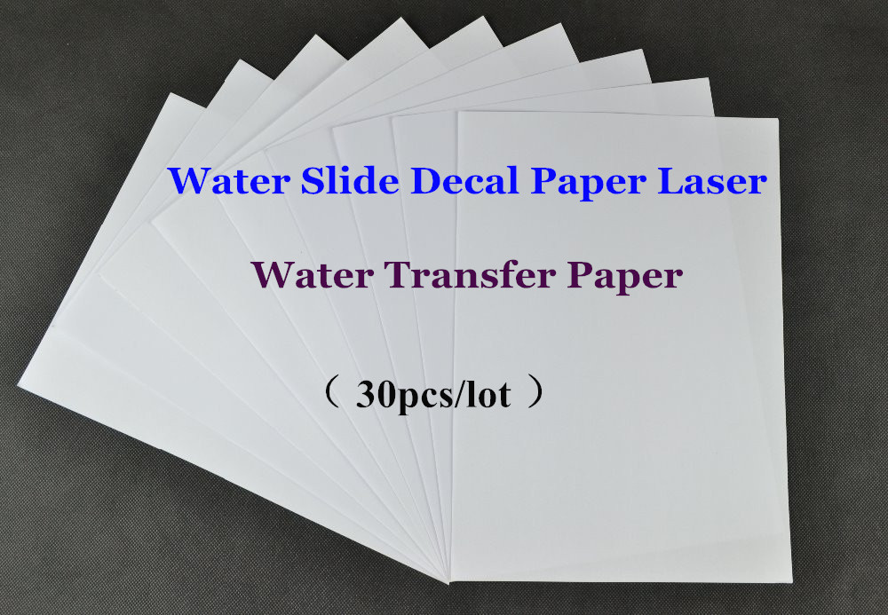 (30pcs/lot) A4 Clear/Transparent Cheap Paper Water Slide Decal Paper Laser Water Transfer Paper For Glass Waterslide Decal Paper(China (Mainland))
