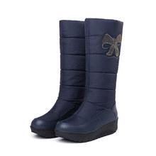 Mulheres botas de neve de inverno botas de couro do plutônio longo plataforma de inverno botas lisas mulher sobre o joelho botas 2019 para as mulheres grossas botas de pele(China)
