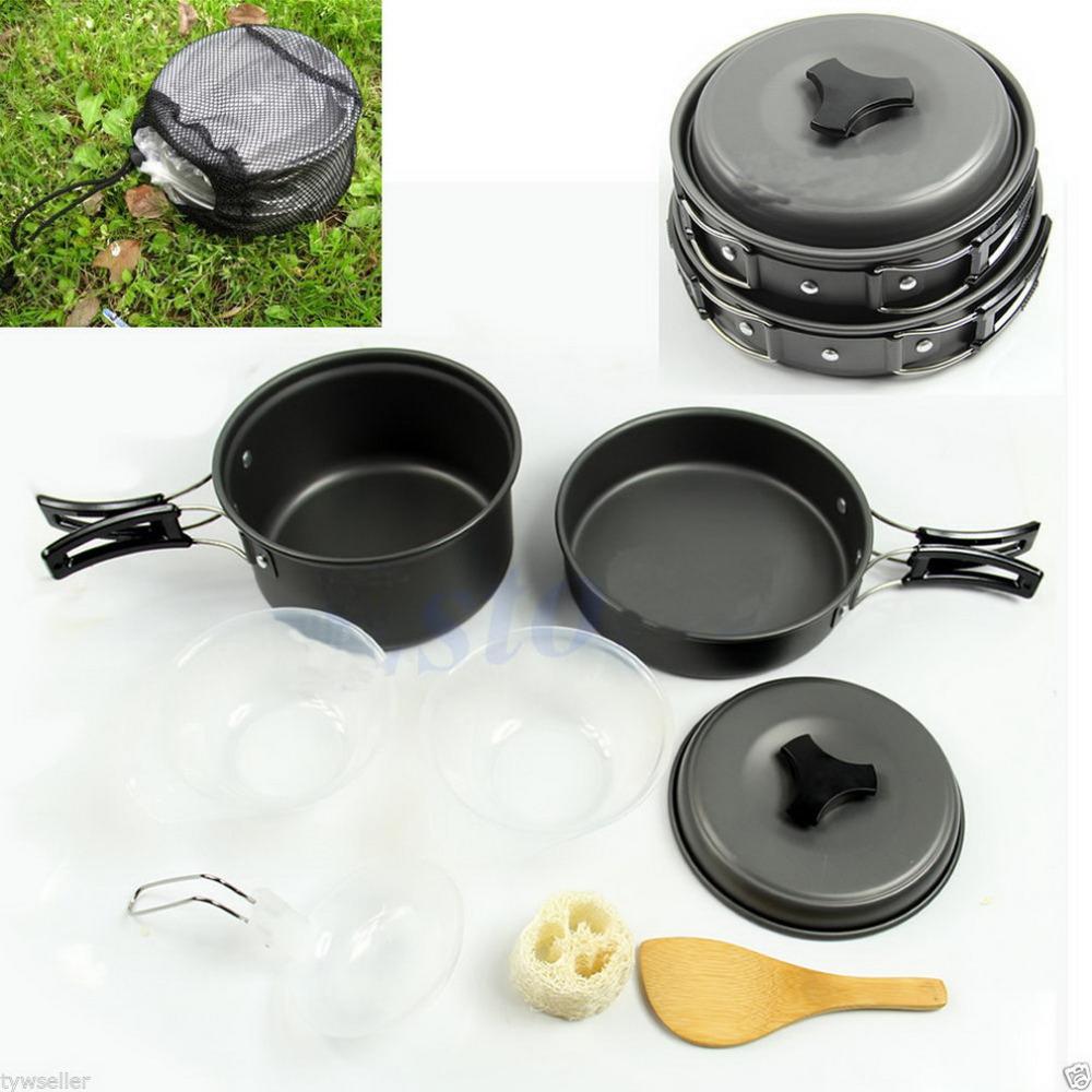 8pcs Backpacking Cooking Picnic Outdoor Camping Hiking Cookware Bowl Pot Pan Set Brand New(China (Mainland))