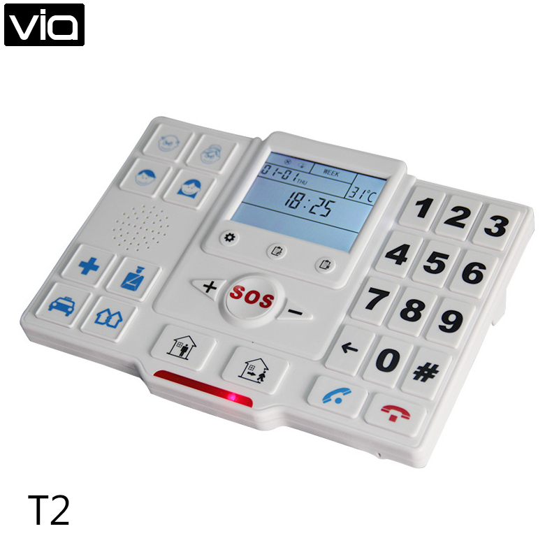 King Pigeon T2A Free Shipping GSM SMS Elder Emergency Call Alarm Kit with SOS Communication Phone Medic Alert With SOS Button(China (Mainland))
