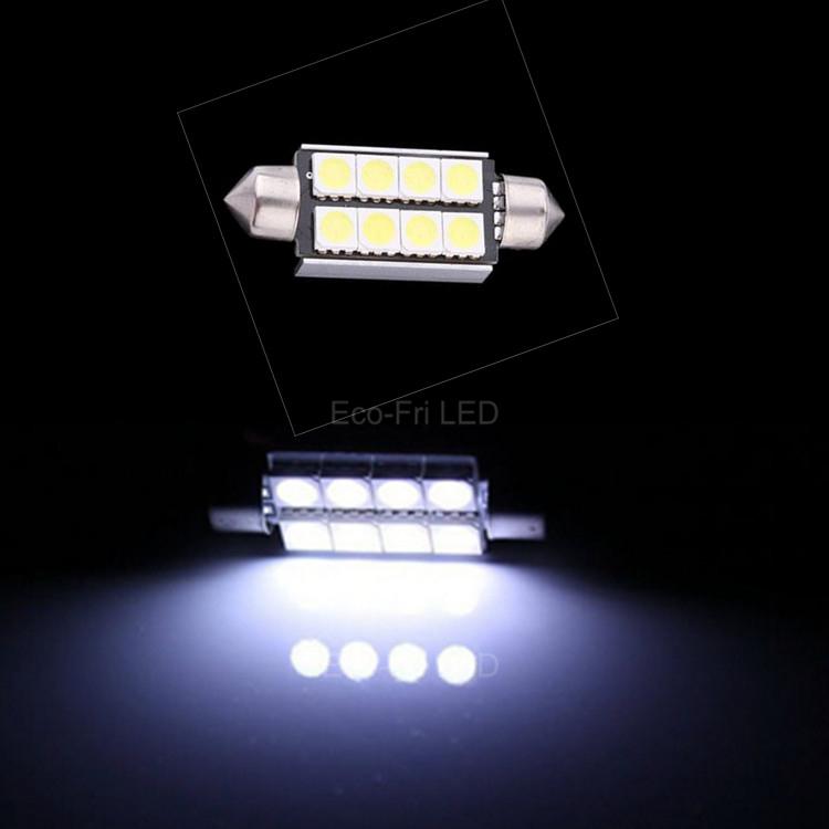 2x White Car License Plate Light Error Free Festoon 39mm 5050 LED 8 SMD Canbus 12V 6411 DE3425 C5W Lamp Bulbs for BMW(China (Mainland))