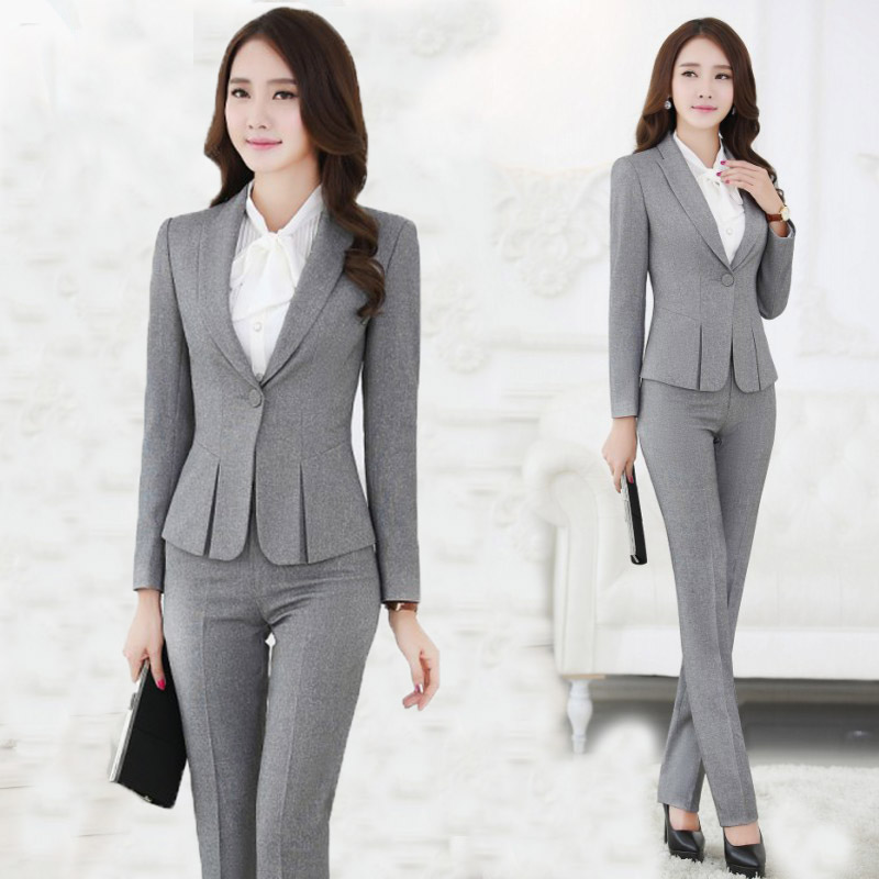 Beautiful Suits 2016 Grey Uniform Designs Womens Evening Pant Suits Office