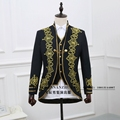 In 2017 Male suit formal dress royal loading male royal loading black embroidered suit clothes fashion