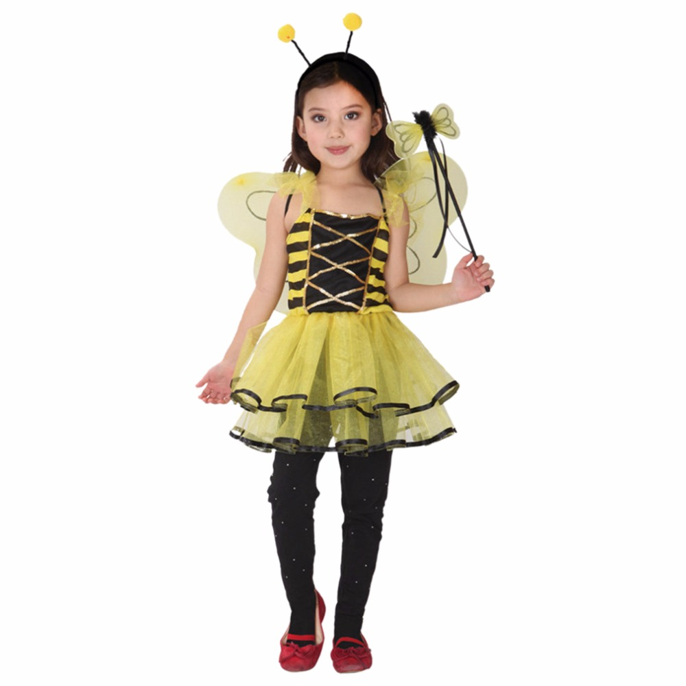 Cute yellow bee halloween cosplay costumes for 3 12 years for Cute halloween costumes for 12 year olds