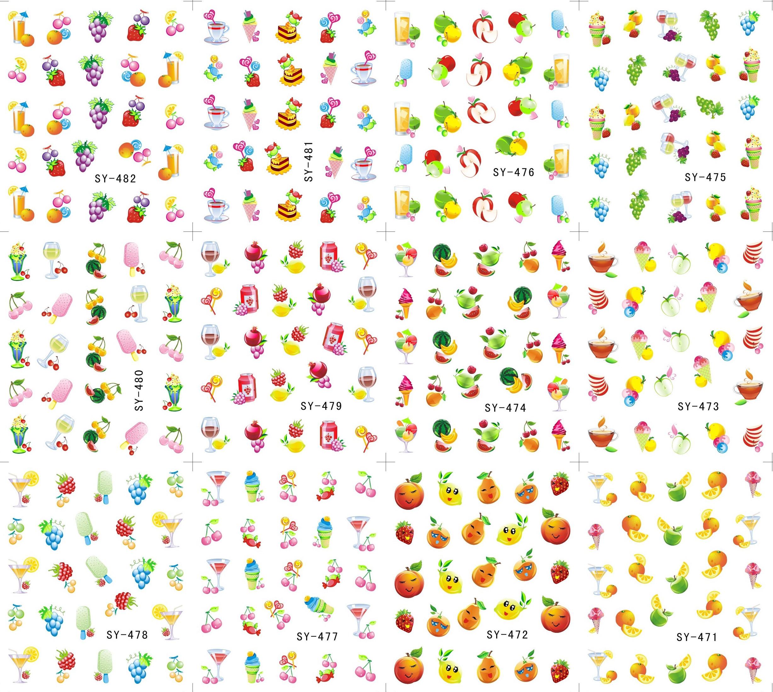 12 Sheets/Lot Art Nail SY471-482 Summer Fruits Nail Art Water Transfer Decal Sticker For Nail Tattoo(12 DESIGNS IN 1)(China (Mainland))