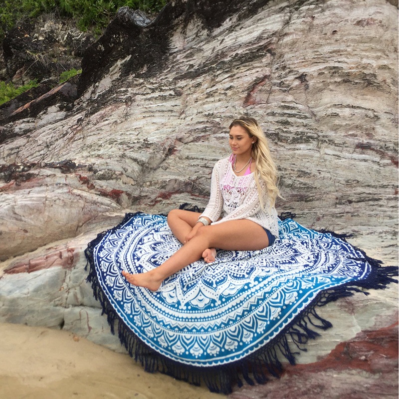 Round Indian Mandala Tapestry Printed Hippie Wall Hanging Boho Beach Throw Towel Yoga Mat Bed Sheet Tablecloth Home Decor 150cm
