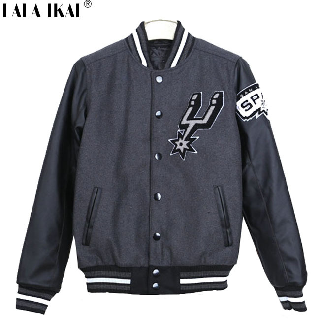 Preppy Mens Clothing Baseball Jacket Coat Men Spurs Faux Leather Sleeve Mens Windbreaker Jackets and Coats Outdoor SMC0064-6Одежда и ак�е��уары<br><br><br>Aliexpress