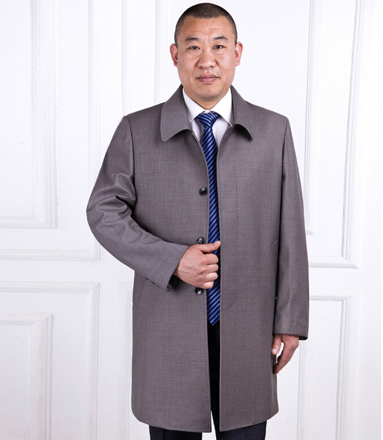 2016 New fashion mens coat long trench jacket plus size turn down collar mens outerwear coats dropship(China (Mainland))
