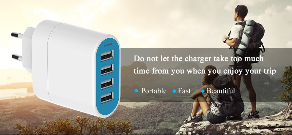 Vention 4 Ports USB Wall Charger Adapter EU Plug 5V 4.5A USB Portable Home Travel Charger for iPhone Galaxy Mobile Phone Charger