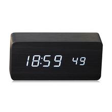 Promotion! qualité Numérique LED D'alarme Horloge Sound Control En Bois Despertador Horloge De Bureau USB/AAA Alimenté Affichage de La Température(China (Mainland))