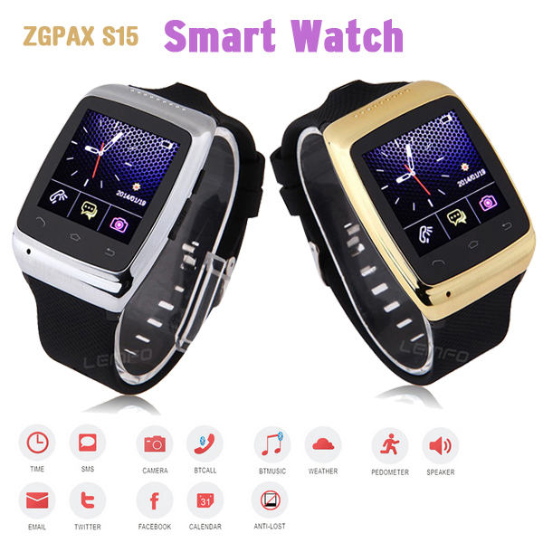 Luxury Bluetooth Smart Watch WristWatch 1.54'' ZGPAX S15 Smartwatch Phone Sync 8G Memory & Camera for Android Smartphones 2014(China (Mainland))