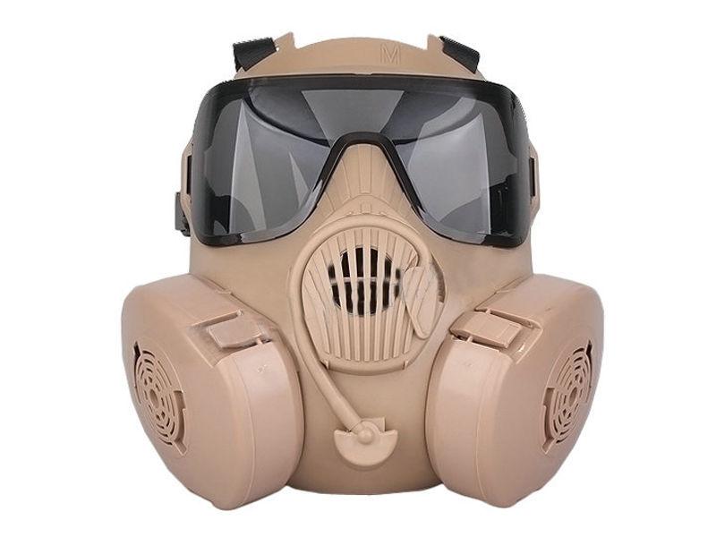 New Tactical Airsoft Paintball Full Face Protection Dual Fan Gas Mask M50 Tan(Hong Kong)
