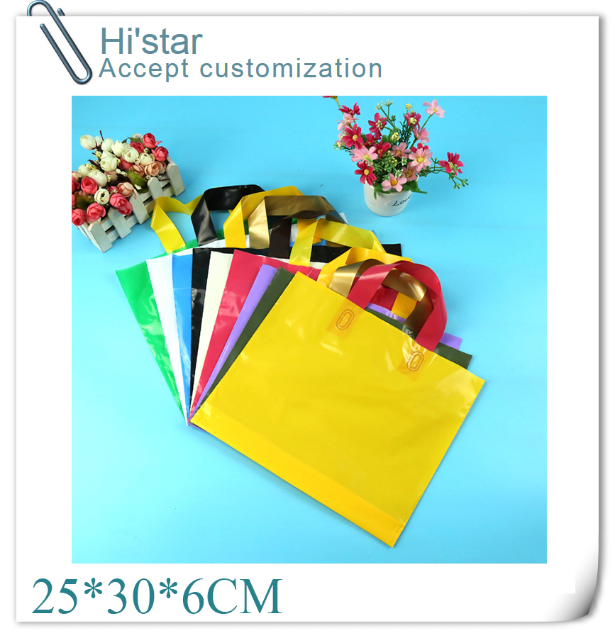 25*30+6cm 50 pieces/lot retail design Logo available plastic Shopping Bag for hair accessories/clothes/shoes accept Customer(China (Mainland))