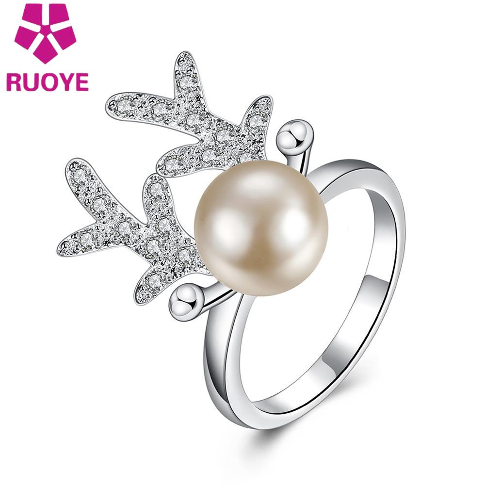 High Quality New Fashion Elk Zircon Ring Silver Plated New Design Finger Ring For Women Simulated Pearl Lady Ring Party Jewelry(China (Mainland))