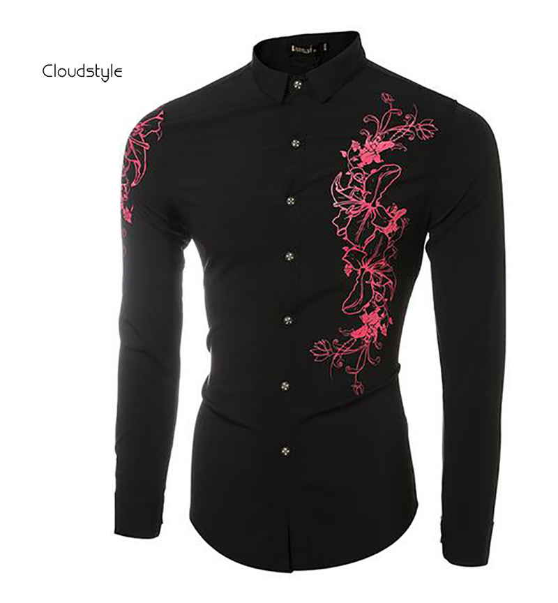2016 New arrivals fashion flower printed men shirt casual men shirts hot sale slim fit long sleeve shirt camisa social masculina(China (Mainland))