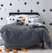Fashion black white geometric bedding sets,full queen cotton comfortable double home textiles flat sheetsquilt cover pillow case(China (Mainland))