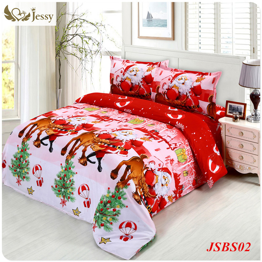 2016 jessy home christmas merry kids duvet comforter cover twin queen size 4pc santa claus deer. Black Bedroom Furniture Sets. Home Design Ideas