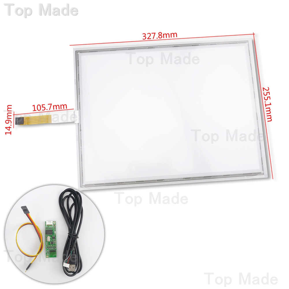 15.6 inch 5 Wire Resistive Touch Screen Kit 327.8x255.1mm Panel with USB Contorller(China (Mainland))