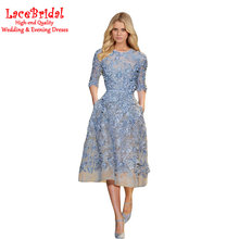 Elegant Blue A Line Beaded Lace Cocktail Dresses 2016 with Half Sleeve Tea-Length Pink Party Prom Gowns robe de cocktail TC62(China (Mainland))
