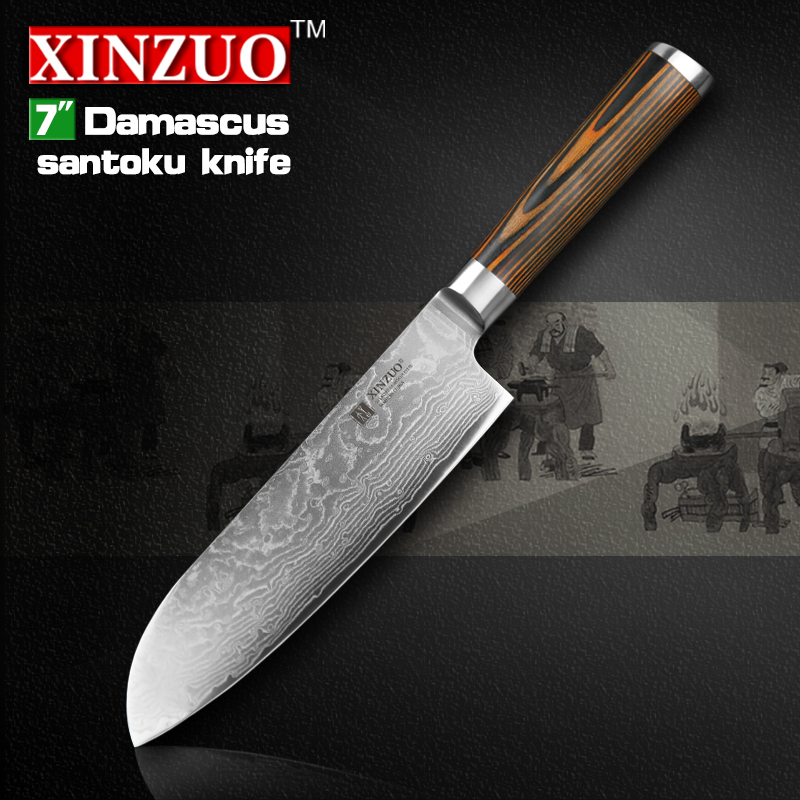 "XINZUO 7"" inch Japanese chef knife Damascus steel kitchen knives sharp japanese VG10 santoku knife wood handle free shipping(China (Mainland))"