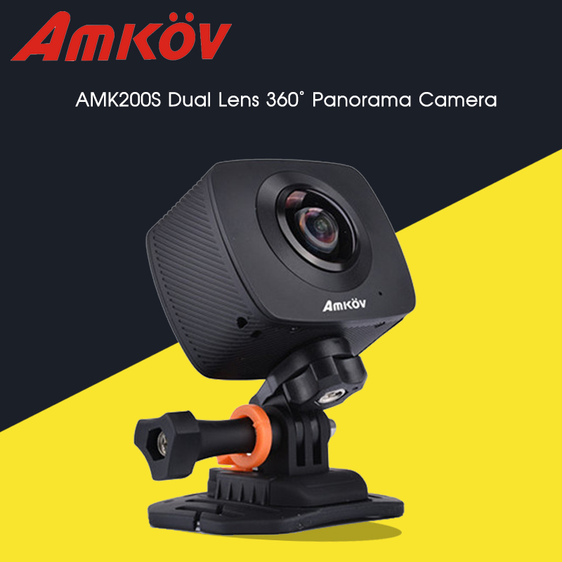 AMKOV AMK200S 360*360 Degree WiFi Sport Camera Dual 200 Degree Fisheye Lens Action Camera All View Virtual Reality Camera(China (Mainland))
