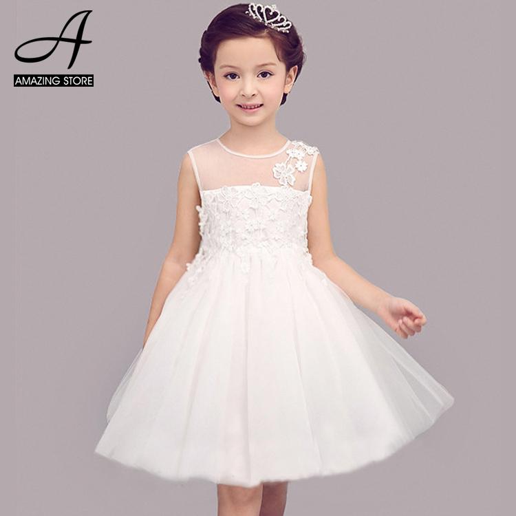 White wedding dresses for little girl adorable flower for Big girl wedding dresses