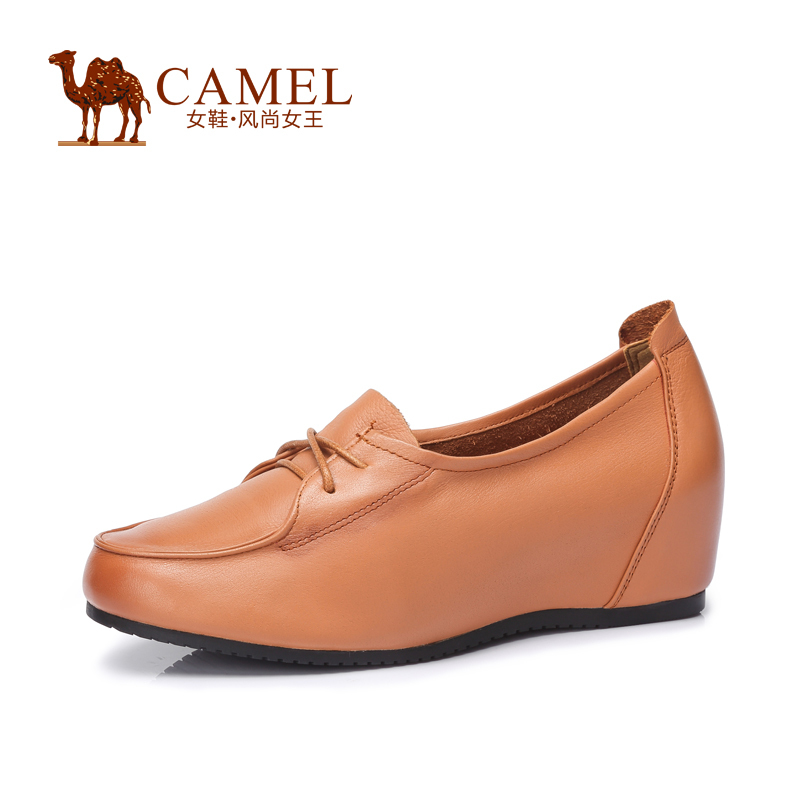 Фотография Camel leather shoes comfortable round recreational water dyed lace new shoes within the higher 2015 fashion lady shoes A53007621