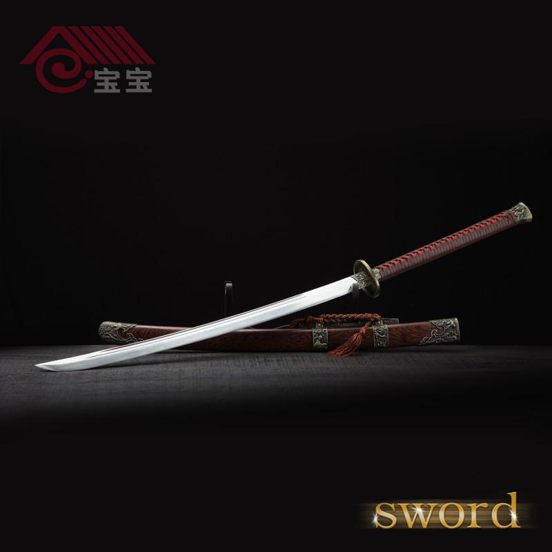 Handmade Japanese katana samurai sword/Dragon and phoenix pearwood sword stainless steel home decor vintage decoration craft(China (Mainland))