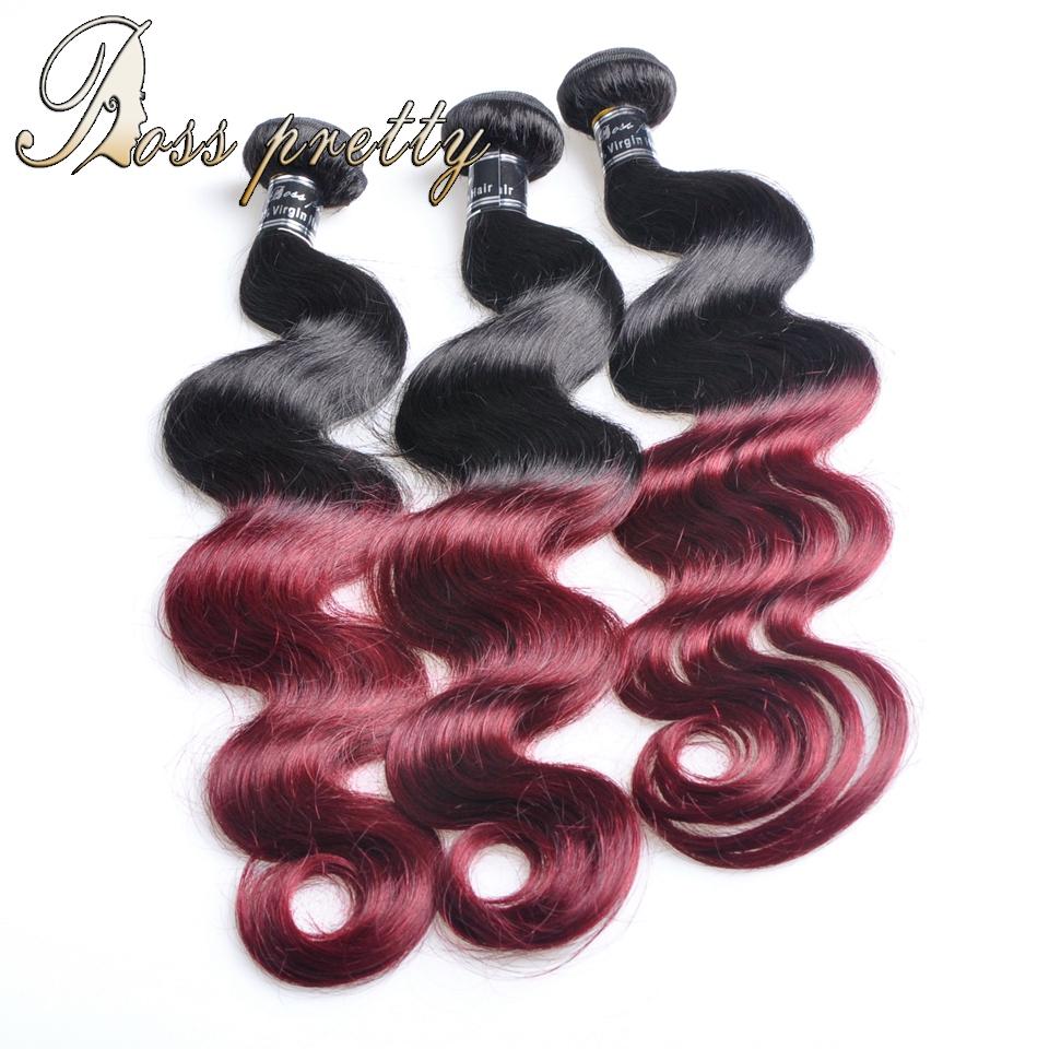 Ross Pretty Products 3PCS Ombre Peruvian Hair Body Wave TwoTone1B/99j Ombre Hair Extensions Peruvian Virgin Hair 100%human hair <br><br>Aliexpress