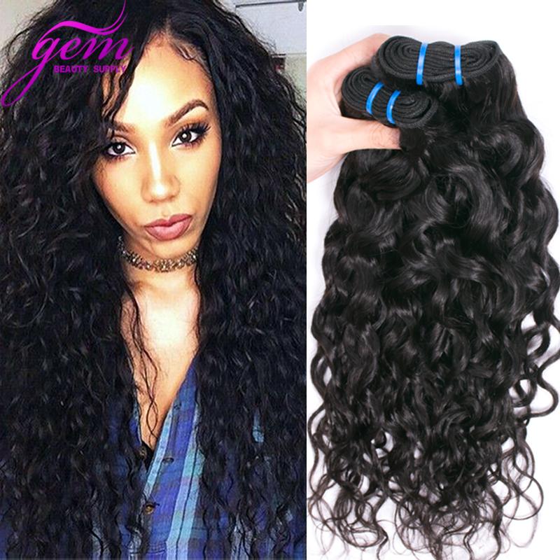 Brazilian Ocean Wave Brazilian Water Wave Virgin Hair 3PCS 300g GEM Beauty Wet Wavy Human Hair Bundles Ocean Wave Curly Hair 1b(China (Mainland))