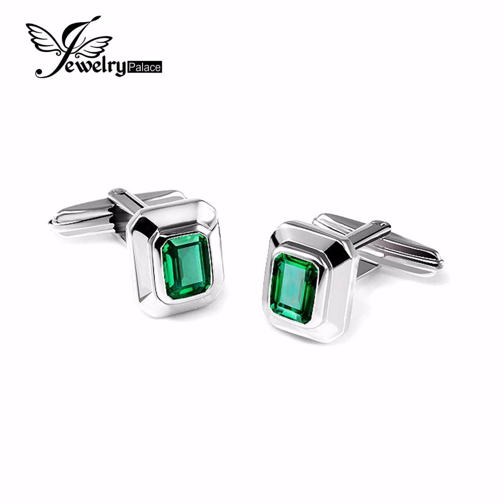 JewelryPalace Men 4ct Created Nano Russian Emerald Cufflinks Genuine 925 Sterling Sliver Cufflinks for Men Fine Jewelry Brand