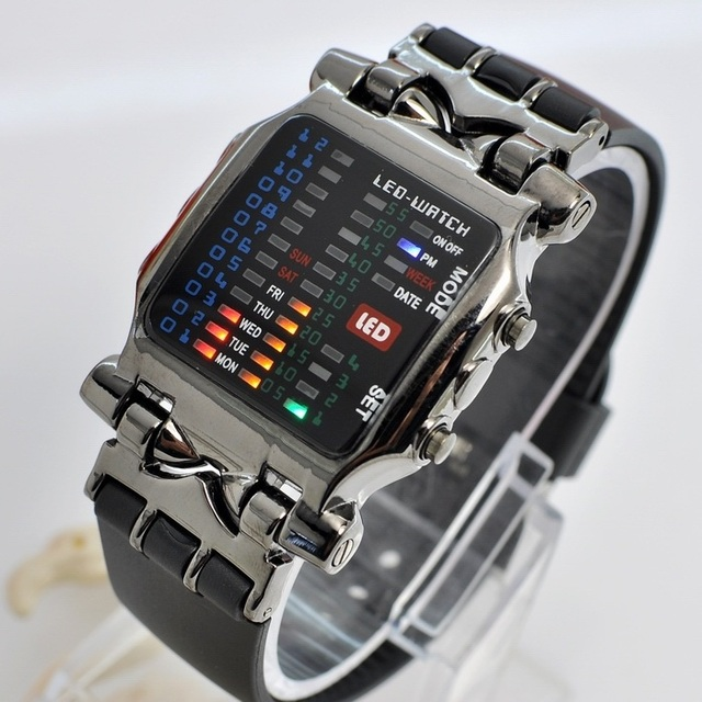 Cool 21 Colorful LED Digital Binary Wrist Watch Black 31875  Free Shipping