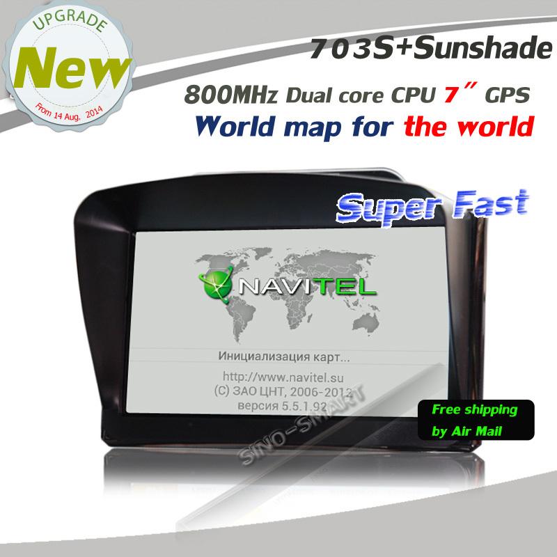 New 7 inch GPS navigation system Portable GPS navigator Dual Core CPU 800MHz 128MB DDR3 4GB Navitel map with Sunshage(Hong Kong)