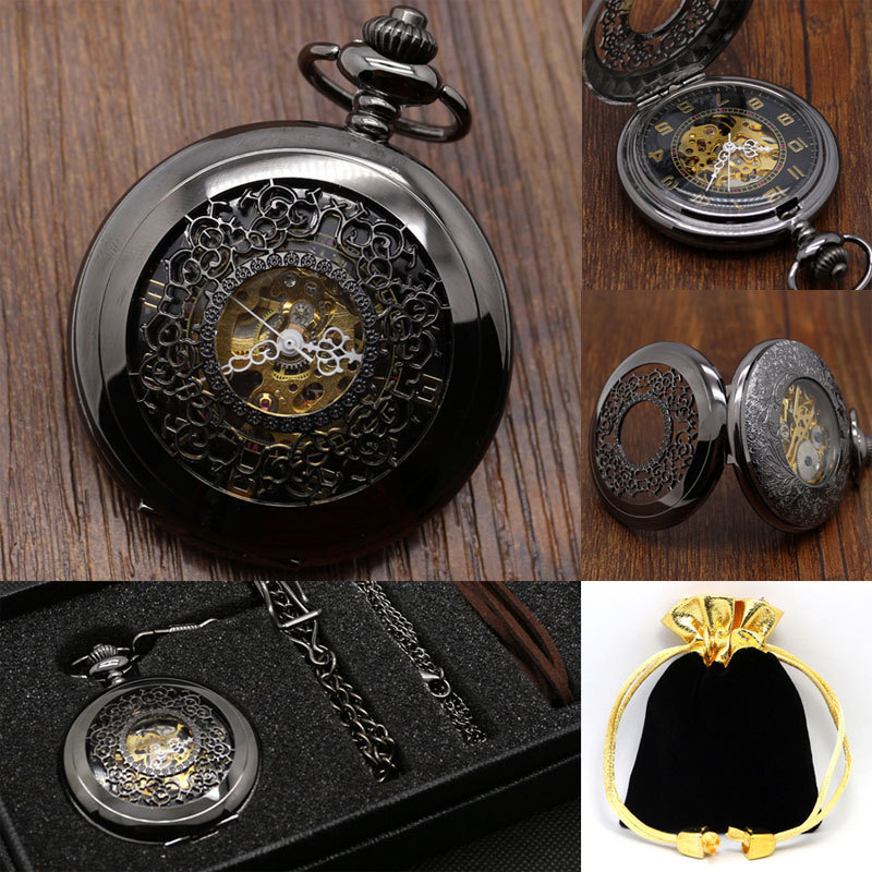 Vintage Black Classic Watches Black Stainless Steel Full Hunter Mens Hand Winding Mechanical Pocket Watch Steampunk Women Gifts(China (Mainland))