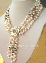wholesales design Garnet freshwater White Pearl Necklace shell Flower Clasp lowest fashion jewelry,gift free shipping(China (Mainland))
