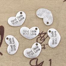 30 pcs Charms coeur hand made amour 15 * 10 mm Antique pendentif en forme, Vintage argent tibétain, Bricolage pour bracelet collier(China (Mainland))