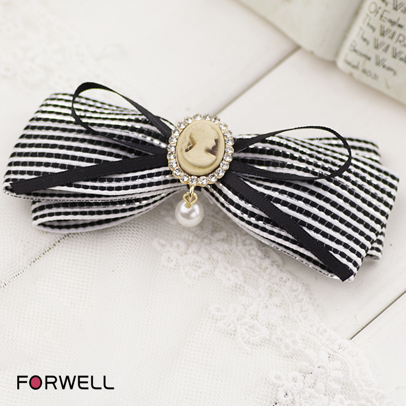 2016 New arrival hairpins for women DIY handmade black and white striped ribbon bow hair clip rubber bands hair accessories b072(China (Mainland))