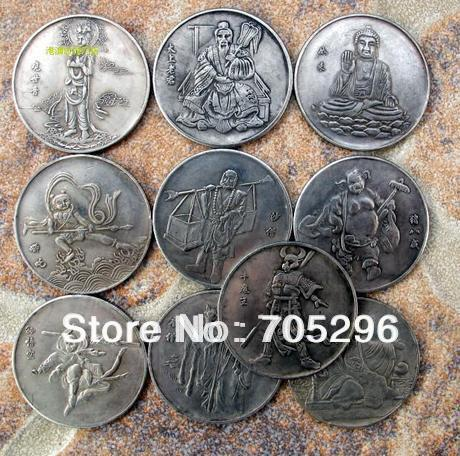 [New] free shipping wholesale mix 10 pcs China's 'Pilgrimage to the West' Sun Wukong rare coin(China (Mainland))