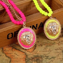 New Arrived Fashion Fluorescent Color Lion Head Pendant Chain Bead Necklace N1140