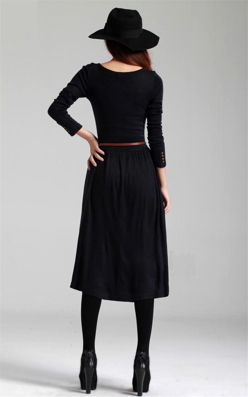 Long Sleeve Mid Length Dress