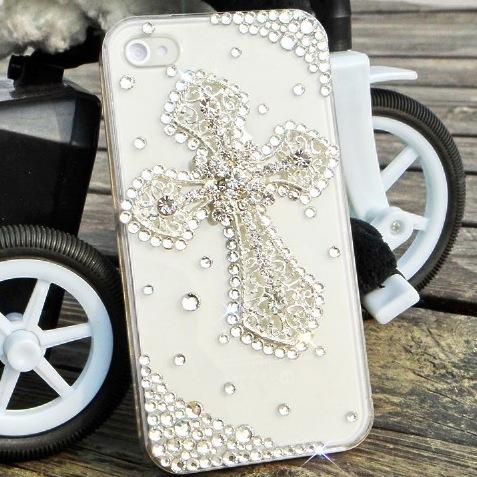 Luxury Fashion Cross Rhinestone Diamond Crystal Case Cover For iPhone 4 4s 1pcs/lot()