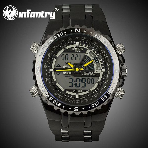 INFANTRY 2015 Newest Casual Quartz Watch Military Police Chronograph Wrist Watch Auto Date Luxury Black Silicone LED Stop Watch(Hong Kong)