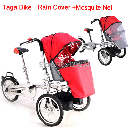 Whole set selling Folding Taga Bike + adding 1 rain cover+1 mosquite net 16inch Mother bike Baby Stroller 3 Wheels bike 3 in 1<br><br>Aliexpress